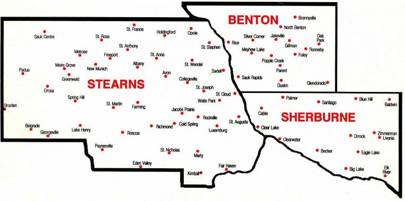 Map of Minnesota Counties of Sherburne, Benton, and Stearns.
